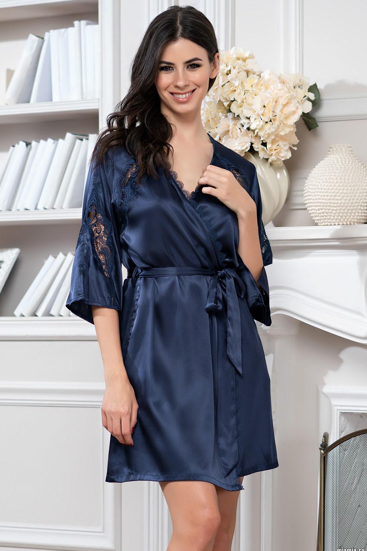 Халат–кимоно темно-синий Mirabella