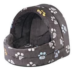 Trixie Лежак-пещера Jimmy для собак маленьких пород, серый в лапки 40х35х35 см
