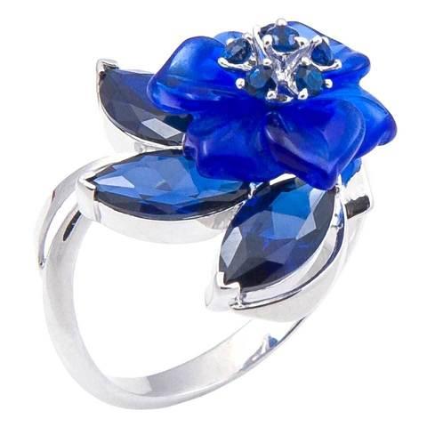 Кольцо с цветами из кварца и сапфиром Арт. 1213сс