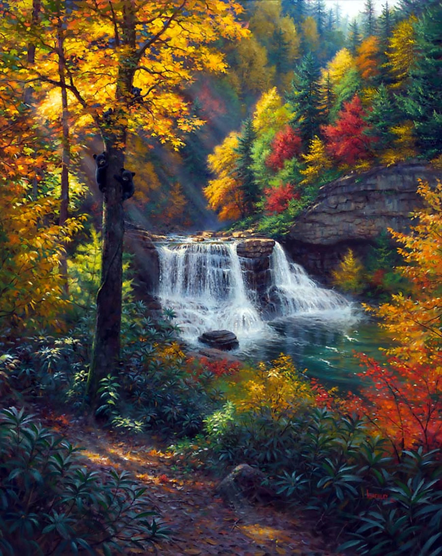 Картина раскраска по номерам 50x65 Водопад в цветном лесу ...