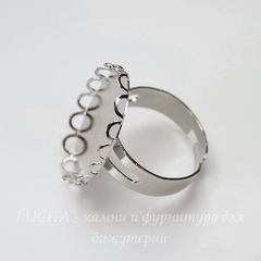 Основа для кольца с сеттингом с ажурным краем для кабошона 25х18 мм (цвет - платина)