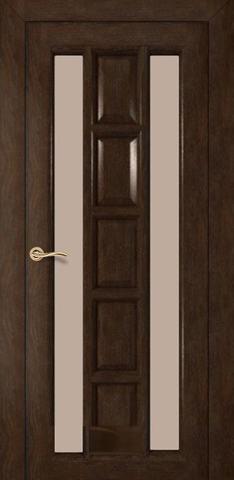 Дверь Румакс Вега ДО, стекло сатинат бронза, цвет каштан, остекленная