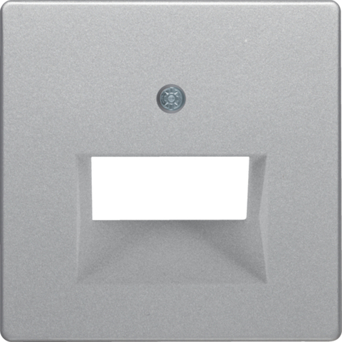 Лицевая панель tel/comp розетки UAE. Цвет Алюминий. Berker (Беркер). Q.1 / Q.3 / Q.7. 14096084