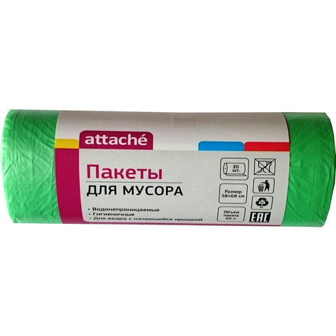 Мешки для мусора ПНД 60л 58x66см 10мкм зеленые 30шт/рул Attache