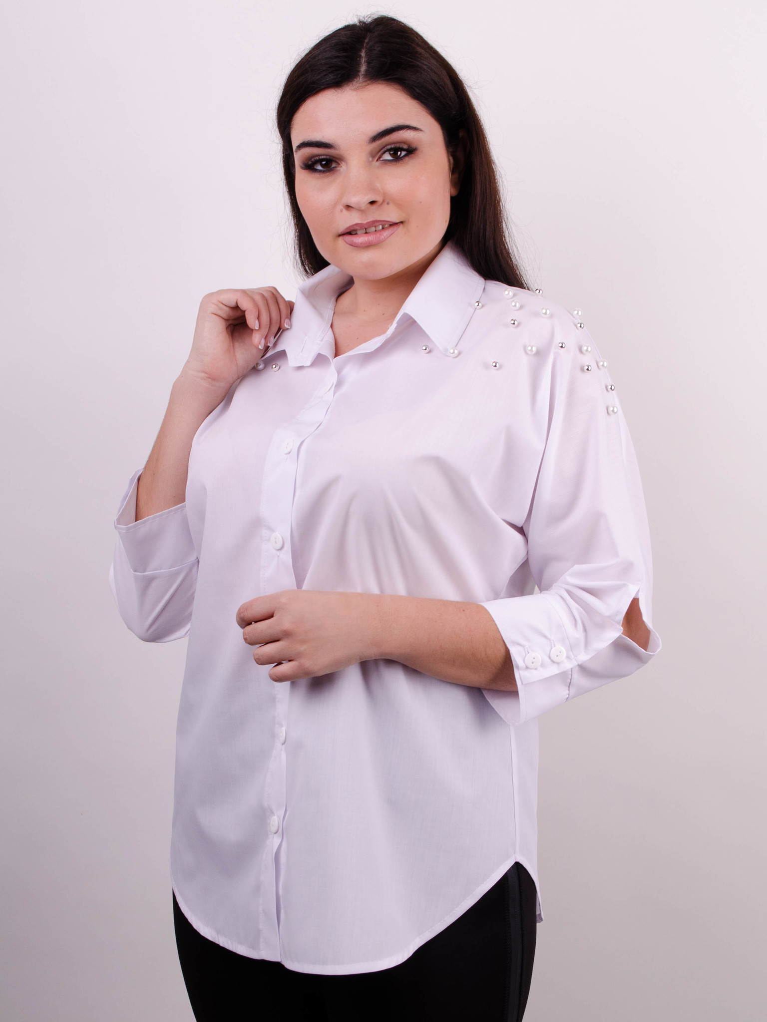 Магда. Сорочка для офісу великих розмірів. Білий. - купить по ... 7910f4d00abdc