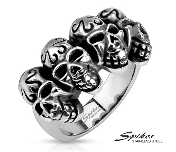 R-Q9411 Мужское кольцо «Spikes» с черепами из стали