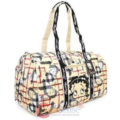 Betty Boop Quilted Duffle Travel Bag Diaper Gym Bag - Brown Chec
