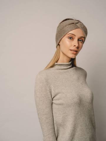 Женская повязка на голову песочного цвета из кашемира - фото 3