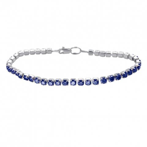 Теннисный браслет из серебра со вставками синий шпинель