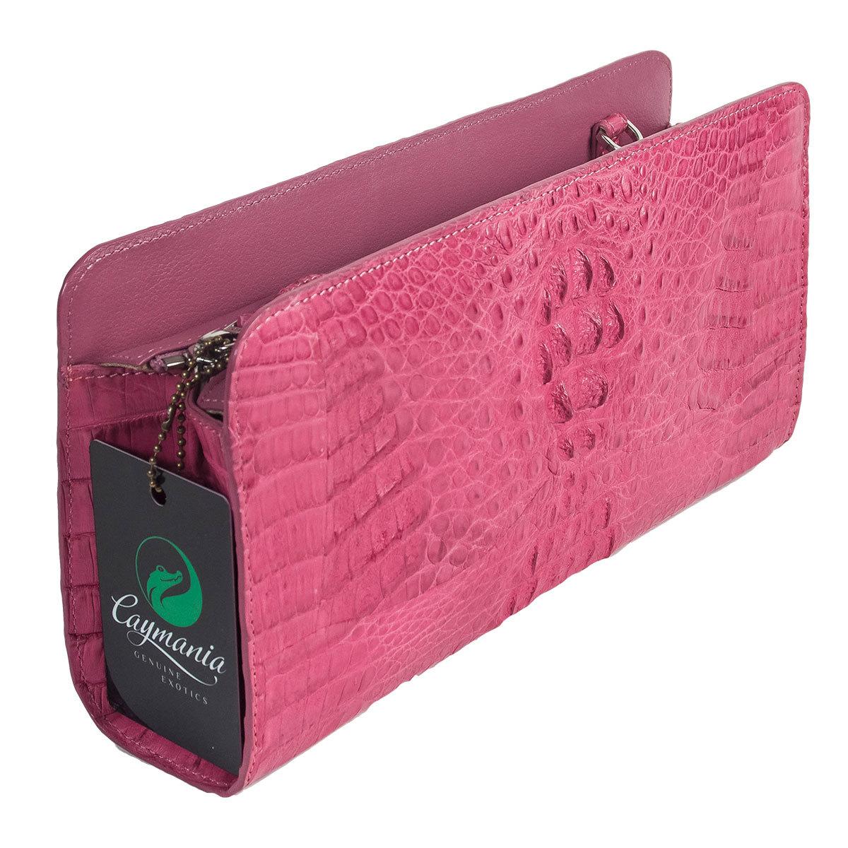 Розовый клатч из кожи питона