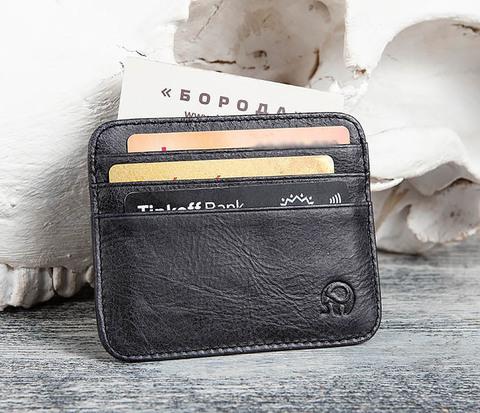 BC150-1 Черный кожаный чехол для пластиковых карт