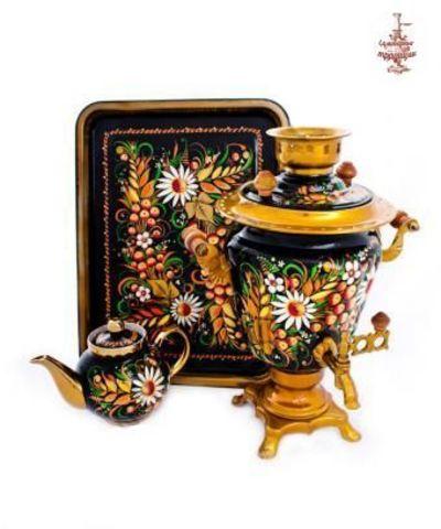 Самовар «Ромашки с ягодой на черном» электрический формой рюмка 3 л в наборе с подносом и чайником