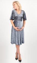 Евромама. Платье для беременных праздничное бархатное, антрацит