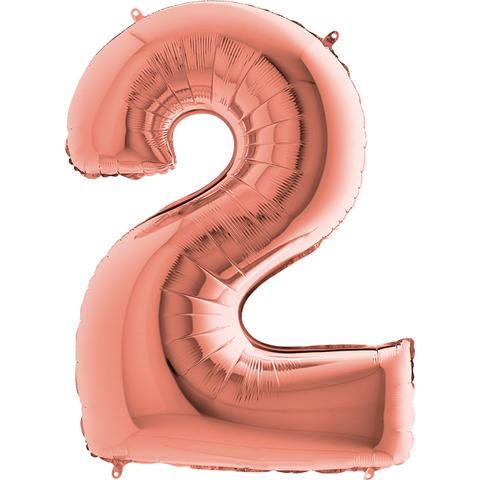 Цифра 2 с Гелием Розовое золото