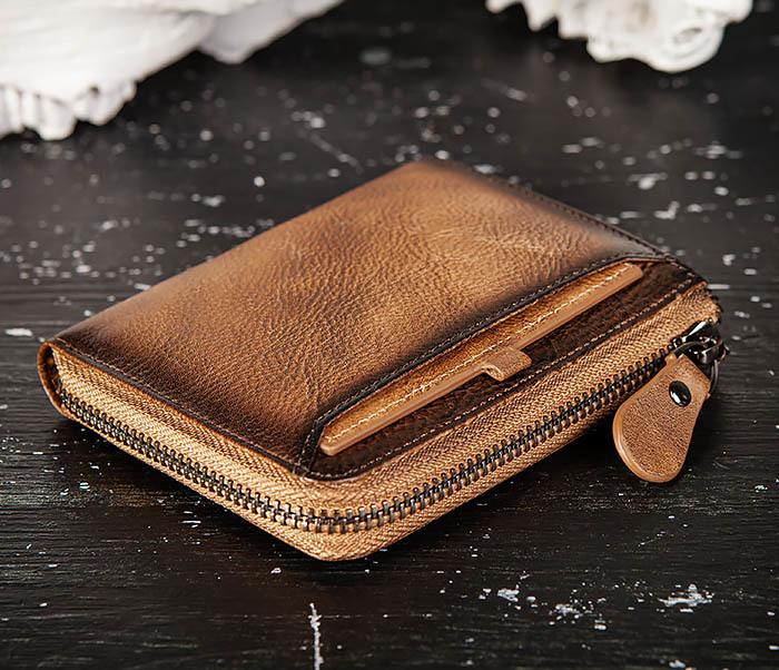 WL331-2 Мужское портмоне из натуральной коричневой кожи фото 03