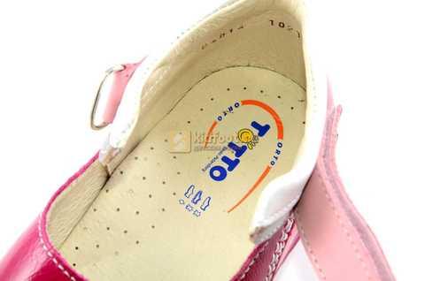 Босоножки Тотто из натуральной кожи с открытым носом для девочек, цвет малиновый розовый. Изображение 11 из 12.