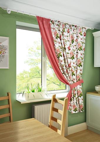 Готовая штора на тесьме для кухни с подхватом Лилиана красный