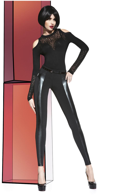 Черные легинсы с кожаными вставками (Легинсы)