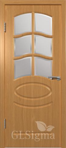 Дверь GreenLine Sigma-102, стекло дельта бронза, цвет миланский орех, остекленная