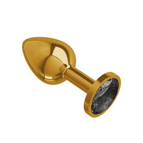 Анальная втулка Gold с черным кристаллом маленькая
