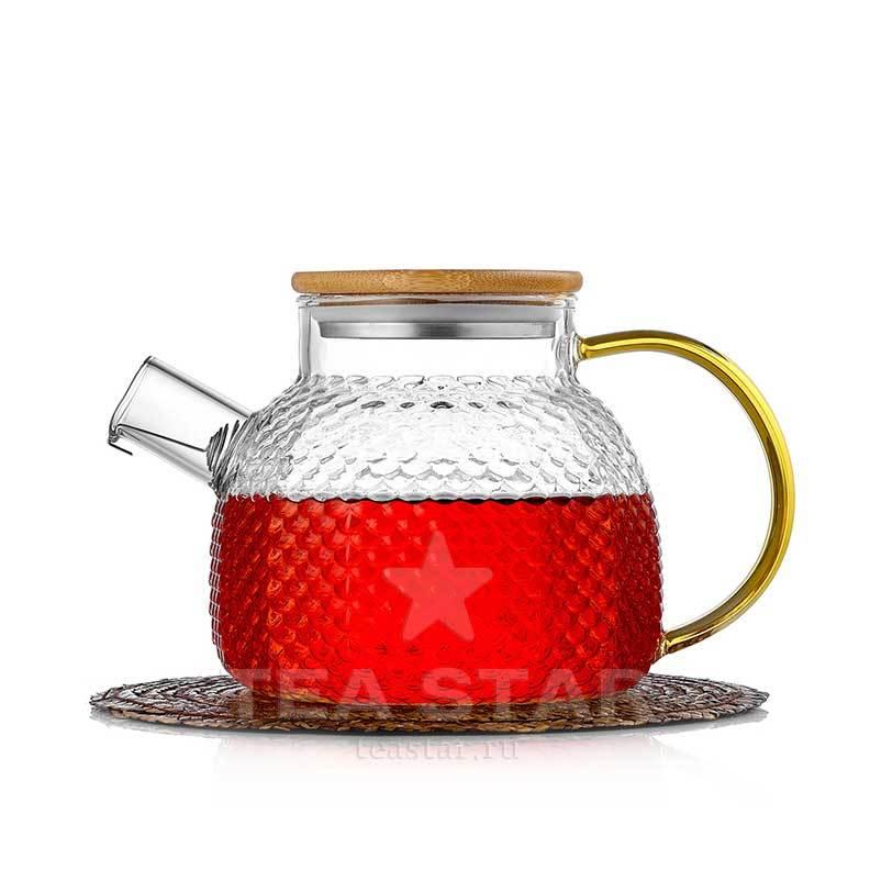 Чайники заварочные стеклянные Чайник заварочный стеклянный 900 мл с фильтром из рельефного жаростойкого стекла zavarochniy_chaynik_1-102-900-teastar.jpg