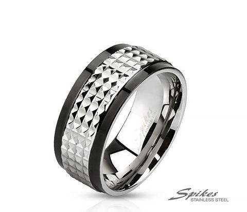 Мужское кольцо из ювелирной стали с рельефной вставкой, «Spikes»