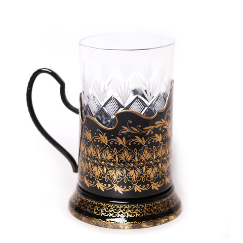 Zhostovo tea glass holder, black PODS25102018D027
