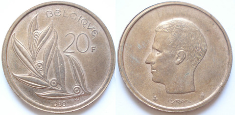 Бельгия 20 франков 1980