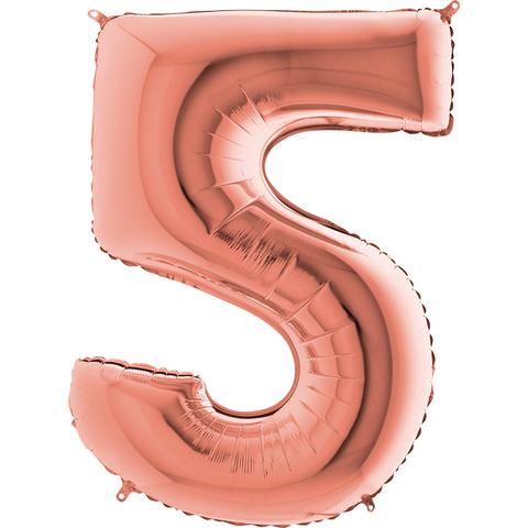 Цифра 5 с Гелием Розовое золото