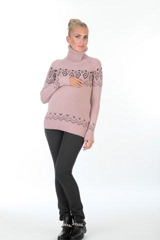 Свитер 00054 розовый-серый
