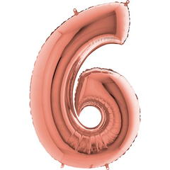 Цифра 6 с Гелием Розовое золото