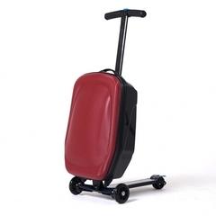 Чемодан на колесах самокат красный