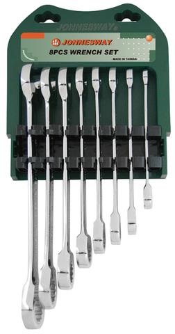 W45108S Набор ключей гаечных комбинированных трещоточных в металлическом кейсе или на пластиковом держателе, 10-19 мм, 8 предметов