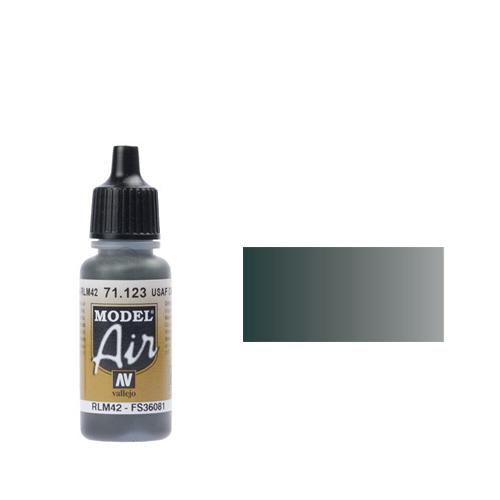 123 Краска Model Air RLM42 Темно-Серый (Dark Gray) укрывистый, 17 мл