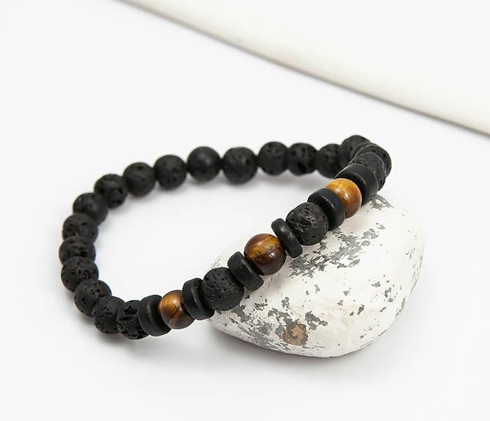 BS780 Мужской браслет из натуральных камней и дерева фото 04
