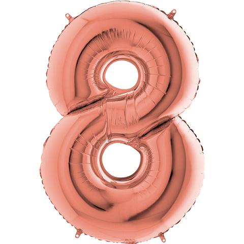 Цифра 8 с Гелием Розовое золото