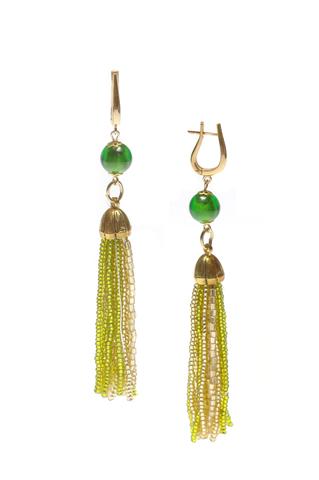 Серьги из бисера зелено-золотистые