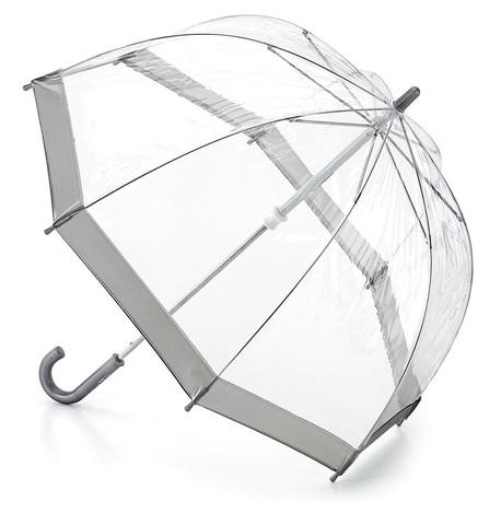 Fulton Silver Прозрачный зонт-трость детский (серебряный кант)