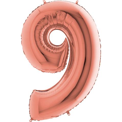 Цифра 9 с Гелием Розовое золото