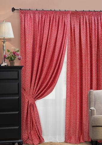 Комплект штор из двухстороннего жаккарда с тюлем Домино красный