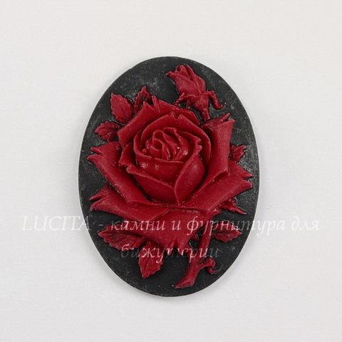 """Камея """"Роза"""" красного цвета на черном фоне 40х30 мм"""