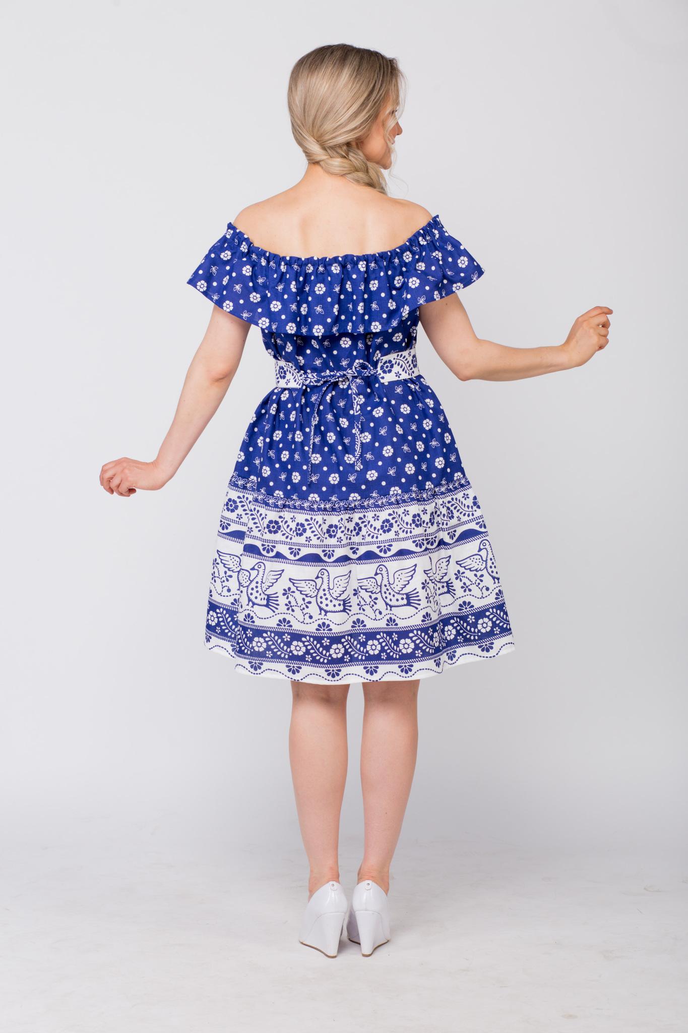 Платье льняное Жар-птица с поясом вид сзади
