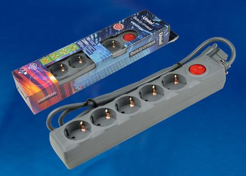 S-GSU5-1,5 GREY Cетевой фильтр серии Universal, 1,5м (Пвс 3*0,75), 5 гнезд, с/з. 10А. Защита от перенапряжения, короткого замыкания. TM Uniel.