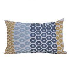 Подушка декоративная 30х45 Hamam Payas горчично-синяя