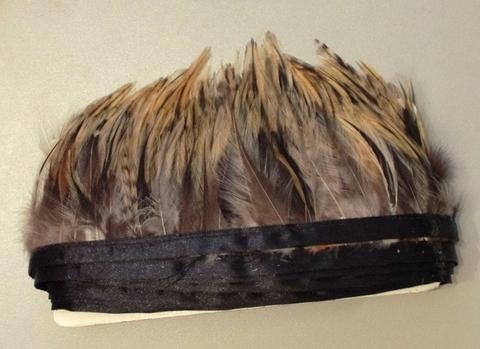 Тесьма  из перьев петуха h- 8-10см., 9 м. натуральный серый