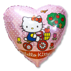 Фольгированный шар Hello Kitty на велосипеде