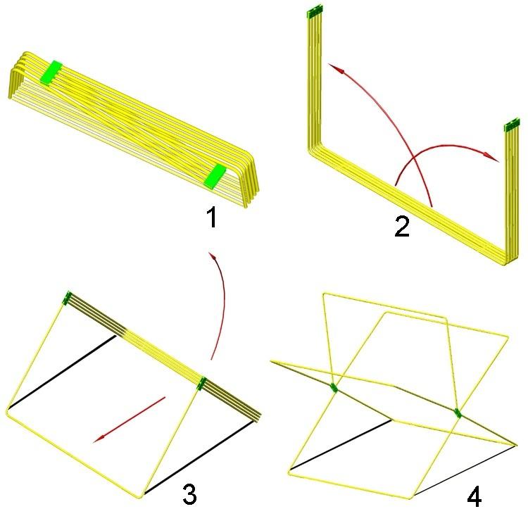 Схема сборки торговой палатки Митек Кабриолет 1.5х1.5 Ø18 мм