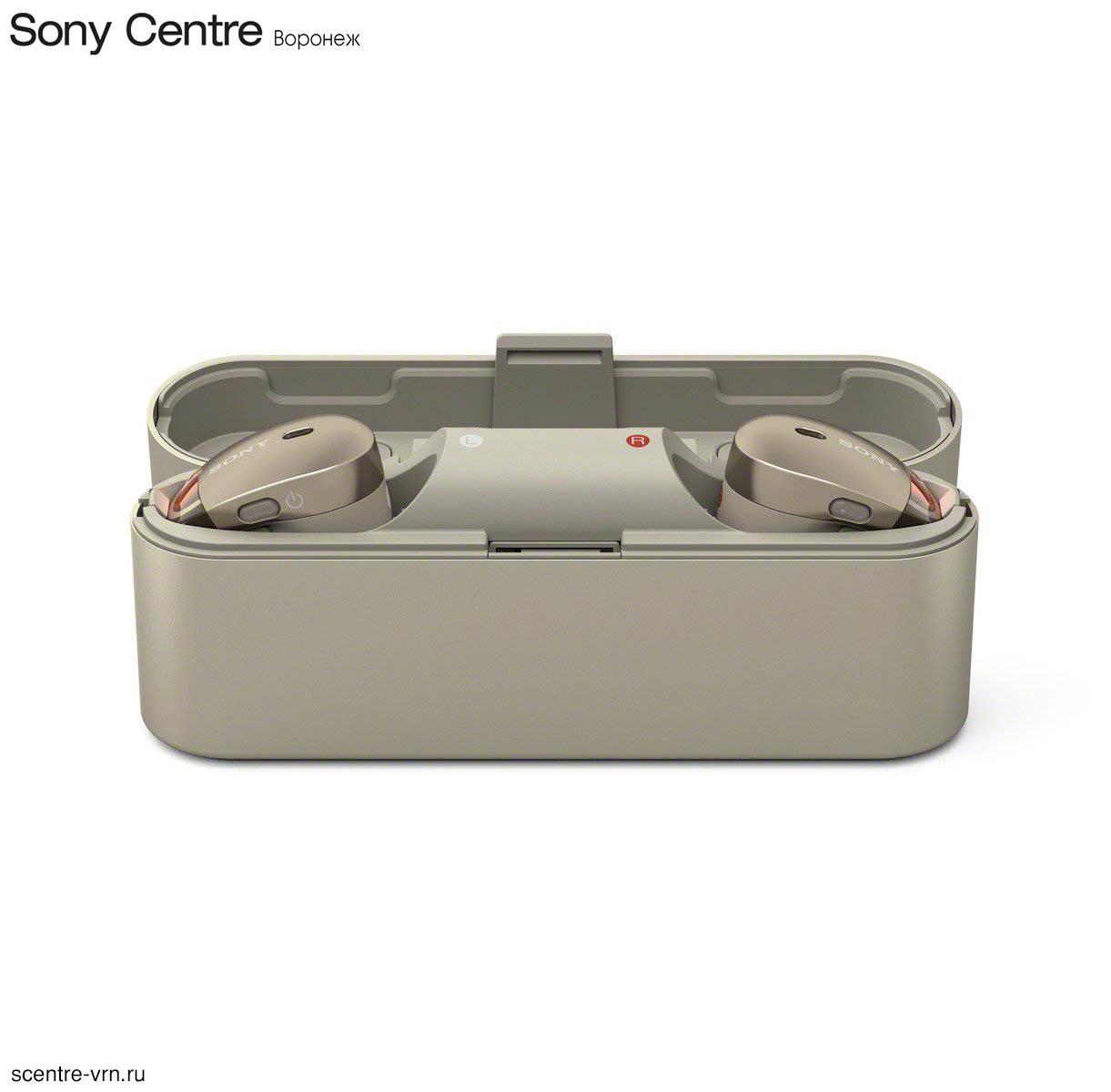 Беспроводные наушники Sony WF-1000X с шумоподавлением, цвет золотой