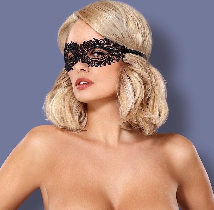Перчатки и аксессуары: Чёрная ажурная маска на глаза на завязках