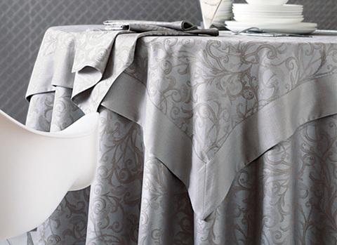 Скатерть и комплект салфеток Blanc des Vosges Ombelle серая